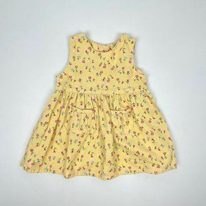 Vintage Oshkosh Girls Yellow Floral Corduroy Dress